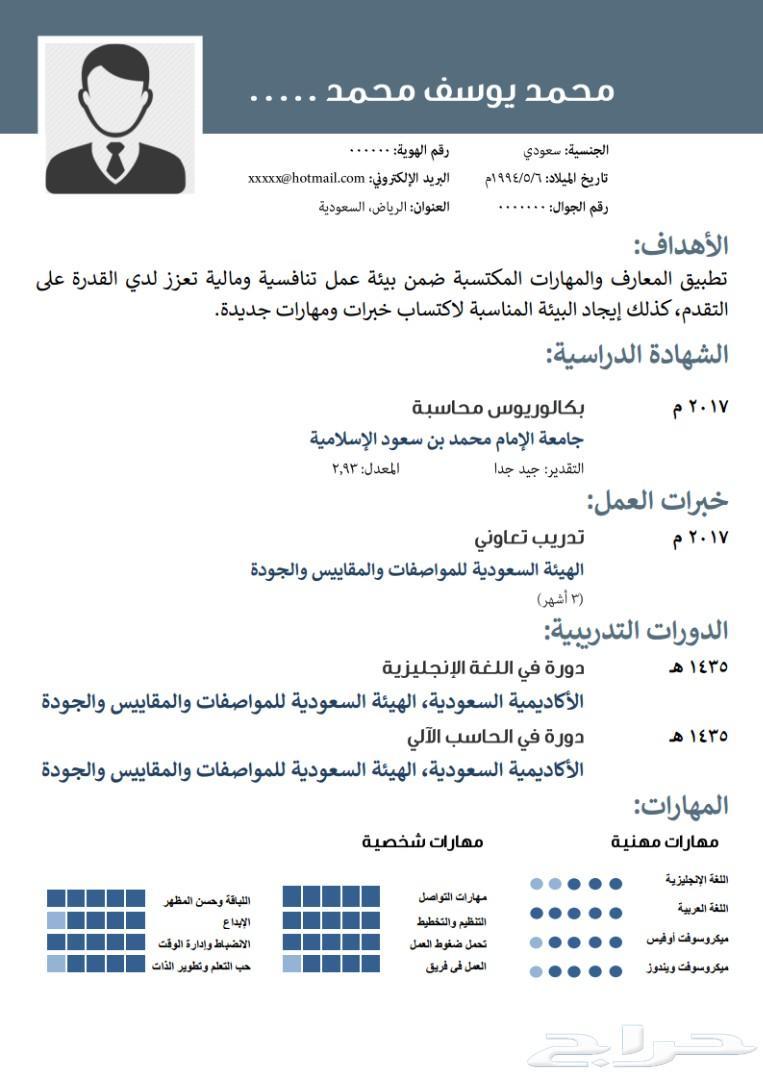 سيرة ذاتية بالعربي مجانا