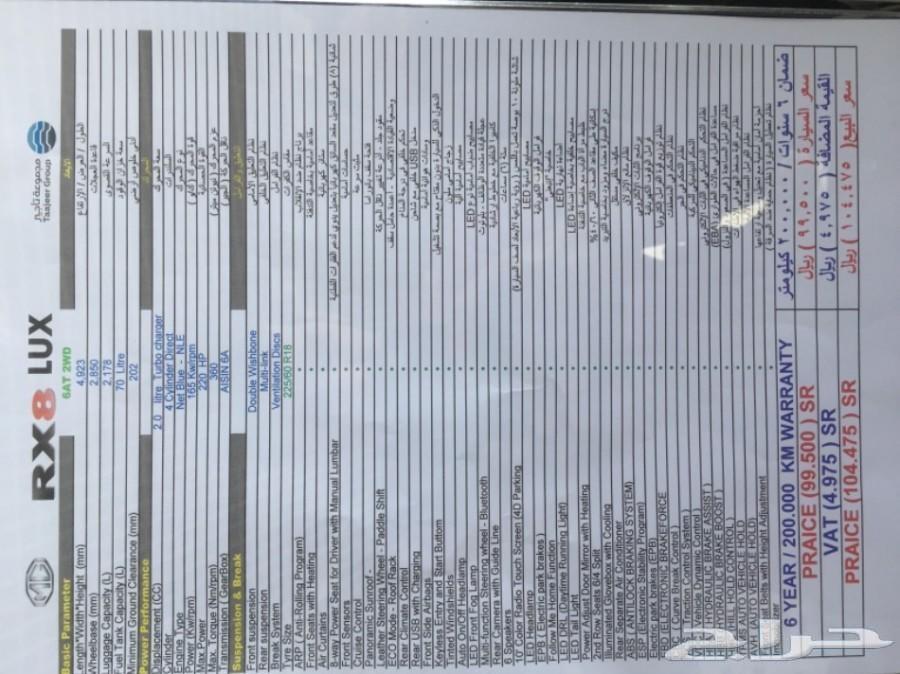 ام جي اراكس 8 الجديده2020