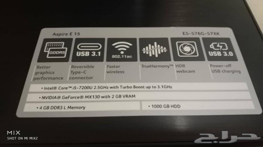 لابتوب Acer i5 جيل سابع كارت شاشة نيفيديا