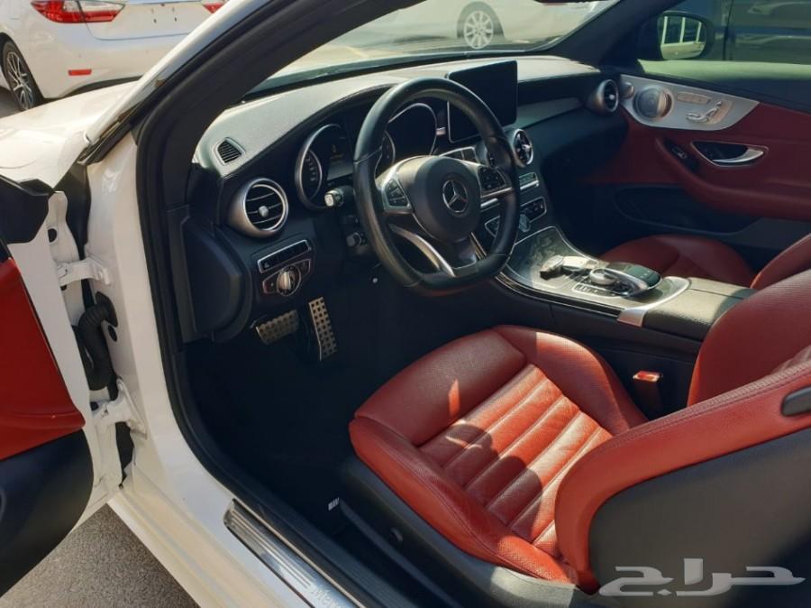2017 مرسيدس C300 كوبيه AMG اصل ابيض داخل احمر